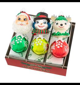 Christopher Radko Shiny Brite Holiday Splendor 3 Ct Figure Rounds Ornaments 5.5 Inch