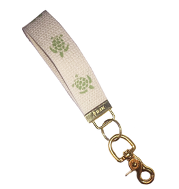 MFH Keychain Cotton w Brass Clip w Sea Turtle-Natural-Lime