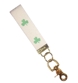MFH Keychain Cotton w Brass Clip w Shamrock Irish Clover-Kelly Green