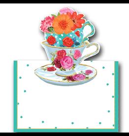 Caspari Table Place Cards Tent Style Tea Cups 8pk