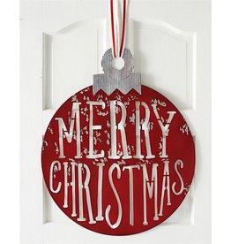 Mud Pie Metal Merry Christmas Ornament Shaped Door Hanger 29x24