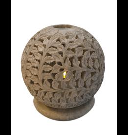 Et Al Designs Carved Sphere Tea Light Holder LG 5.5Dia
