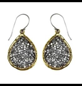 Waxing Poetic® Jewelry Kristal Teardrop Earrings Brass-Silver-Swarovski