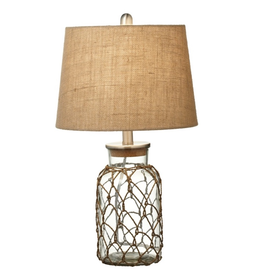 Midwest-CBK Jar w Rope Netting Nautical Table Lamp w Shade 21.5H