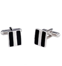Annaleece Cuff Links Black and Silver | Mens Collection