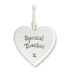 East of India Porcelain Heart Ornament 4178 Special Teacher X
