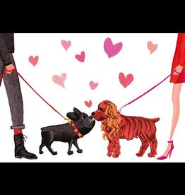 Caspari Valentine's Day Card 86406.14 Dogs and Hearts Valentine Card