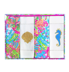 Lilly Pulitzer® Embroidered Cotton Cocktail Napkins Set 4 Lovers Coral