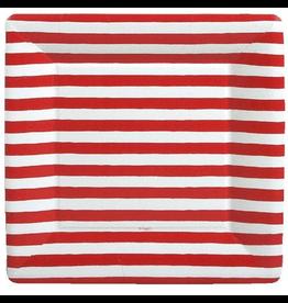 Caspari Paper Dinner Plates SQ 8pk Red and White Stripe