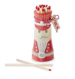 Mud Pie Christmas Matches Gift Set Ceramic Nutcracker W Matchsticks