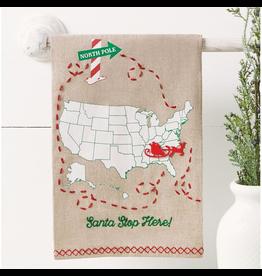 Mud Pie Santa Stop Here Christmas Towel W Mark Your Stop Sleigh Pin