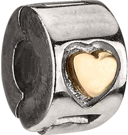 Chamilia Lock Gold Heart Charm Sterling 14K MC-4 Chamilia