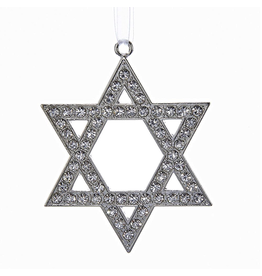 Kurt Adler Jewish Silver Star of David Ornament   Judaic Holiday