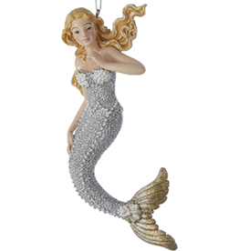 Kurt Adler Mermaid Christmas Ornament Silver W Gold Tail -BLTC