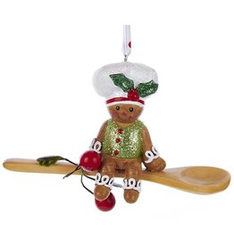 Kurt Adler Gingerbread Chef Boy Utensil Ornament Sitting On Spoon