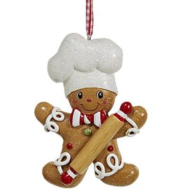 Kurt Adler Gingerbread Chef Boy Utensil Ornament Holding Rolling Pin
