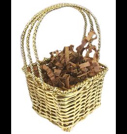 Charles Sadek Mini Gold Square Metal Handled Basket 2x2x3.5H inches