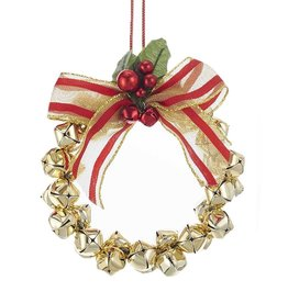 Kurt Adler Metal Gold Bells Mini Wreath Christmas Ornament 4 Inch
