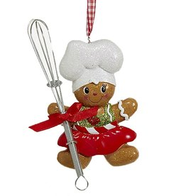 Kurt Adler Gingerbread Chef Girl Utensil Ornament Holding Whisk