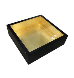 Caspari Black w Gold Lacquer Luncheon Napkin Holder HL13 | Caspari