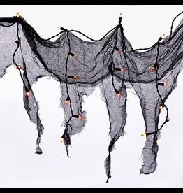 Kurt Adler Halloween Sting Light Set 4FT 36 Orange Bulbs w Gauze Drape