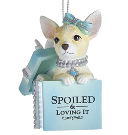Kurt Adler Chihuahua Puppy In Gift Box Ornament Spoiled And Loving It