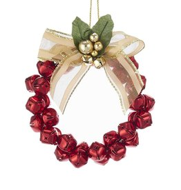 Kurt Adler Metal Red Bells Mini Wreath Christmas Ornament 4 Inch