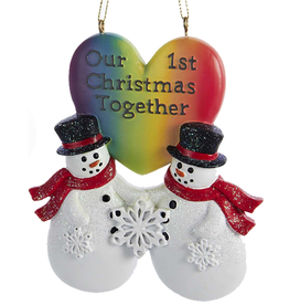 Kurt Adler Pride Gay Snow-Men Couple First Christmas Together Ornament