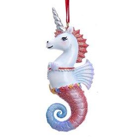 Kurt Adler Unicorn Seahorse Ornament Red Mane