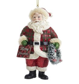 Kurt Adler Classic Plaid Santa Ornament Wreath W Merry Christmas Sign