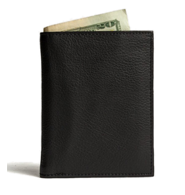 KIKO Leather Slimfold Passcase Leather Wallet In Black