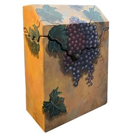 Chrishawn Liquor Wine Holder W Bisque Hand Painted Tuscan Grapes Scene