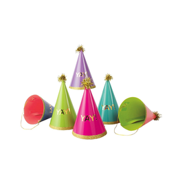 Party Partners YAY Party Hats w Gliitter Gloss Foil Fringe 6PK