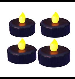 Kurt Adler LED Black Tea Light Battery Operated Flickering Candle SET of 4