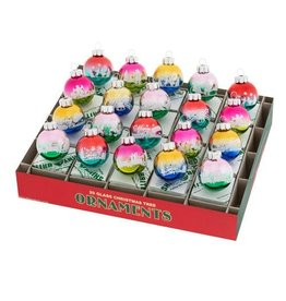 Christopher Radko Shiny Brite Christmas Confetti Signature Flocked Ombre Rounds 20 Ct 1.25 inch