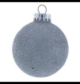 Kurt Adler Silver Glitter Glass Ball Christmas Ornament 80mm Set of 4
