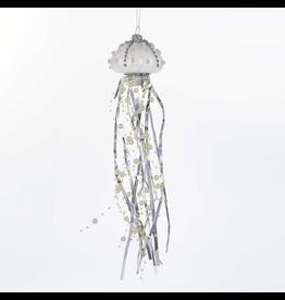Kurt Adler Glass Jellyfish Ornament White Silver w Pearls TD1566