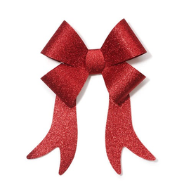 Darice Christmas Bow Red Glittered PVC Bow 9x15 inch