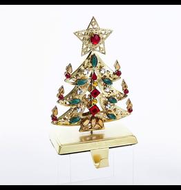 Kurt Adler Gold Christmas Tree Stocking Holder w Jewels TD1545
