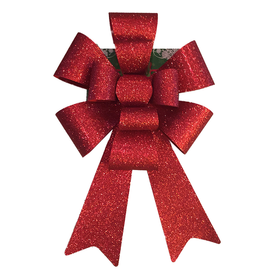 Darice Christmas Red Glitter 12 inch Bow PVC 11 Loops