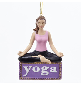 Kurt Adler Yoga Girl Ornament - Lotus Position on Yoga Sign
