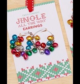 Twos Company Mini Jingle Bells Christmas Earrings Hoops Style -A