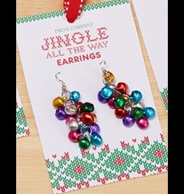 Twos Company Mini Jingle Bells Christmas Earrings Dangle Style -A
