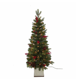 Kurt Adler Christmas Tree 4FT Pre-Lit Berry Topiary Tree