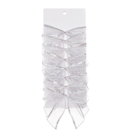 Darice Christmas Silver Mesh Bows 5x4.5 inch Set of 8