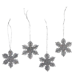 Darice Mini Glittered Snowflakes Ornaments 2 inch 12-Pack Silver