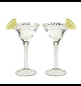 Twos Company Diet Martini Glass w Saying Shot Glasses 1.25oz Set of 2