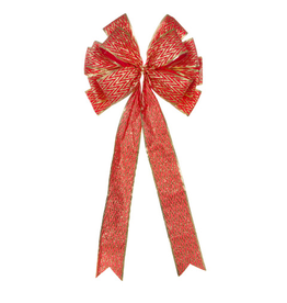 Darice Christmas Gold Red Chevron Bow - Tree Topper 11x22 inch