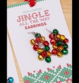 Twos Company Mini Jingle Bells Christmas Earrings Dangle Style -B