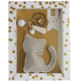 Twos Company Cat Rhinestone Key Chain SILVER Cat